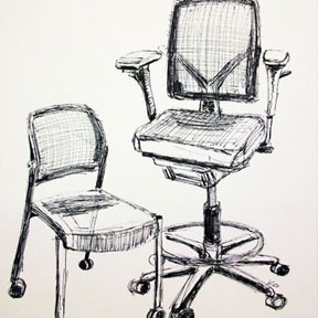 photo of pen and ink chairs drawing