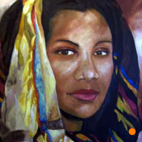 photo of woman in head wrap acrylic painting