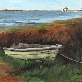photo of boat in the cove acrylic painting