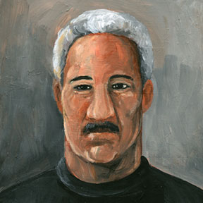 photo of grey haired man acrylic painting