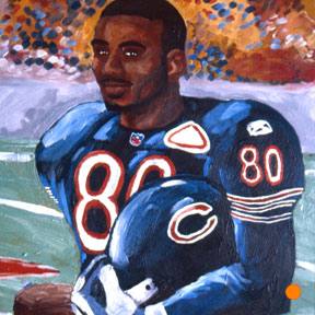 photo of Chicago Bears player acrylic painting