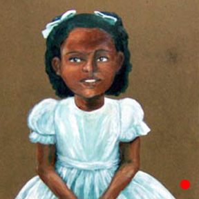 photo of little girl in white dress painting