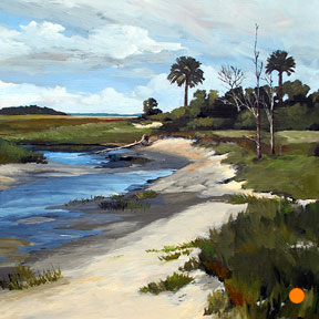 photo of Fort George Inlet beach acrylic painting