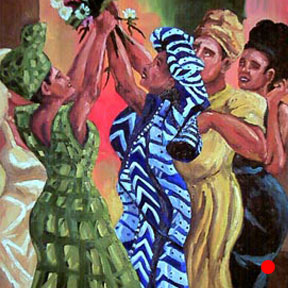 photo of African bridemaids painting