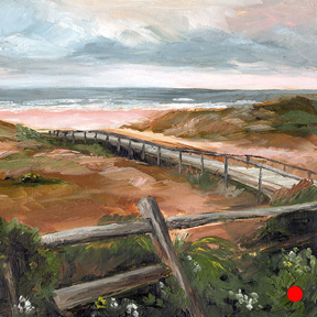photo of boardwalk to beach oil painting