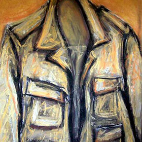 photo of leather jacket pastel drawing