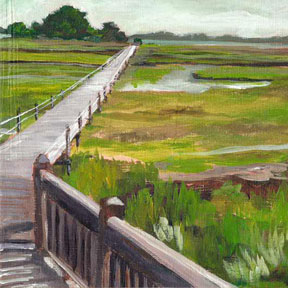 photo of boardwalk to island acrylic painting