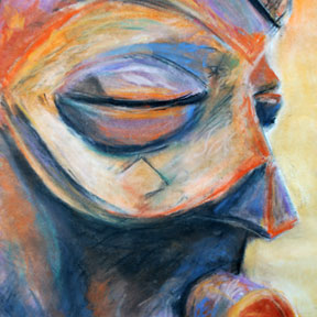 photo of African wooden mask pastel drawing