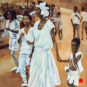 photo of island family in parade acrylic painting