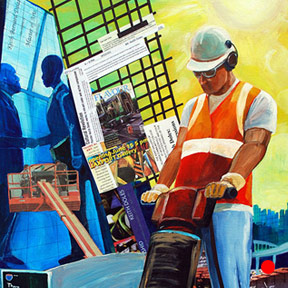 photo of construction worker mixed media painting