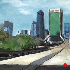 photo of Downtown Jacksonville skyline acrylic painting