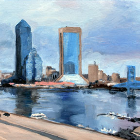 photo of Downtown Jacksonville skyline oil painting