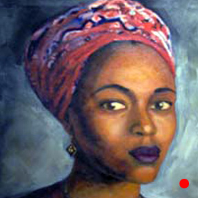 photo of woman in red head wrap oil painting